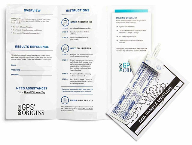 GPS Origins DNA Collection Kit Brochure Opened